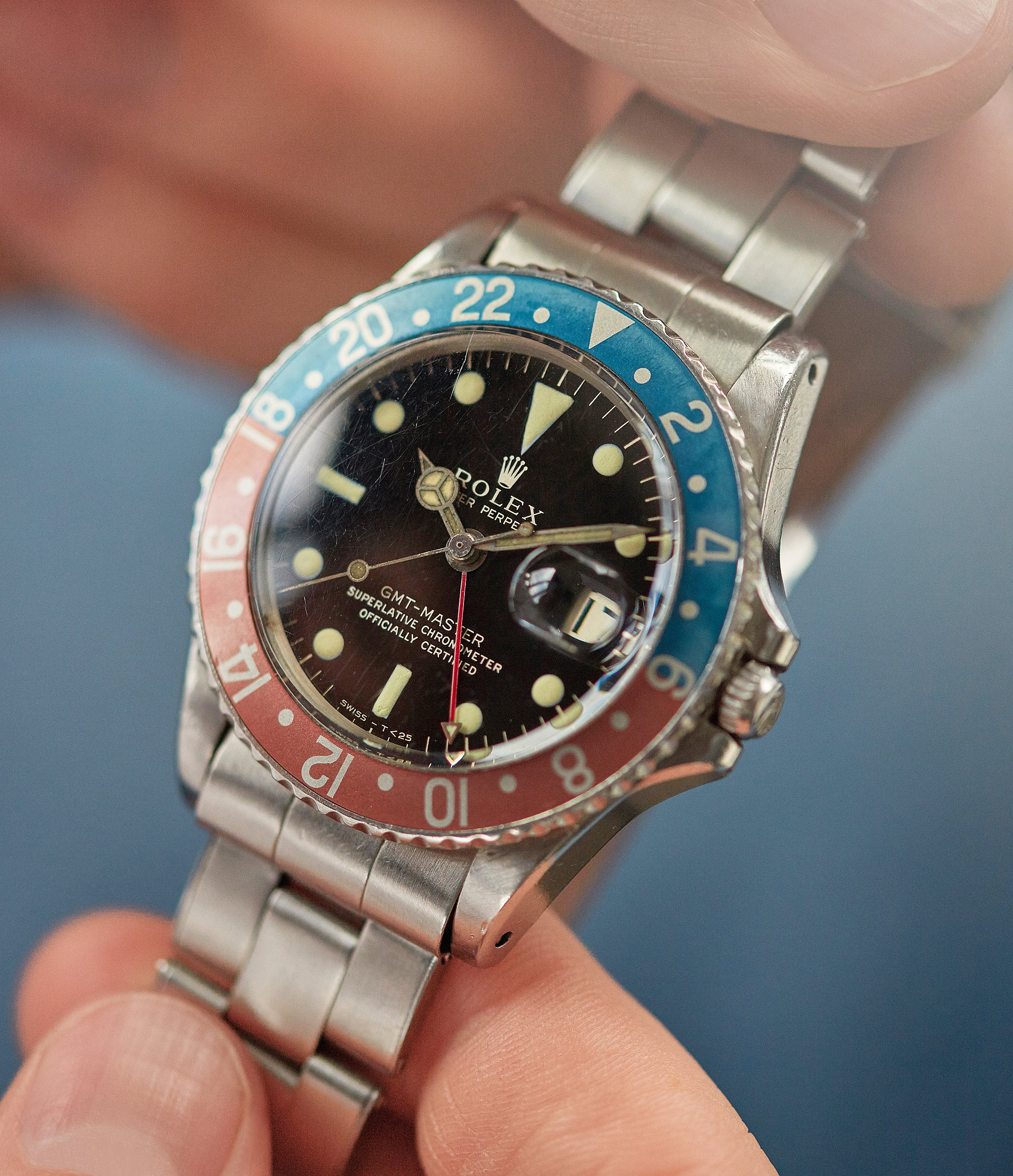 find rare vintage Rolex GMT-Master 1675 Gilt dial full set vintage watch for sale online at A Collected Man London UK specialist of rare watches