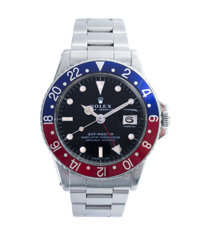 buy vintage Rolex GMT Master 1675 steel traveller sport watch Pepsi bezel for sale online at A Collected Man London vintage watch specialist