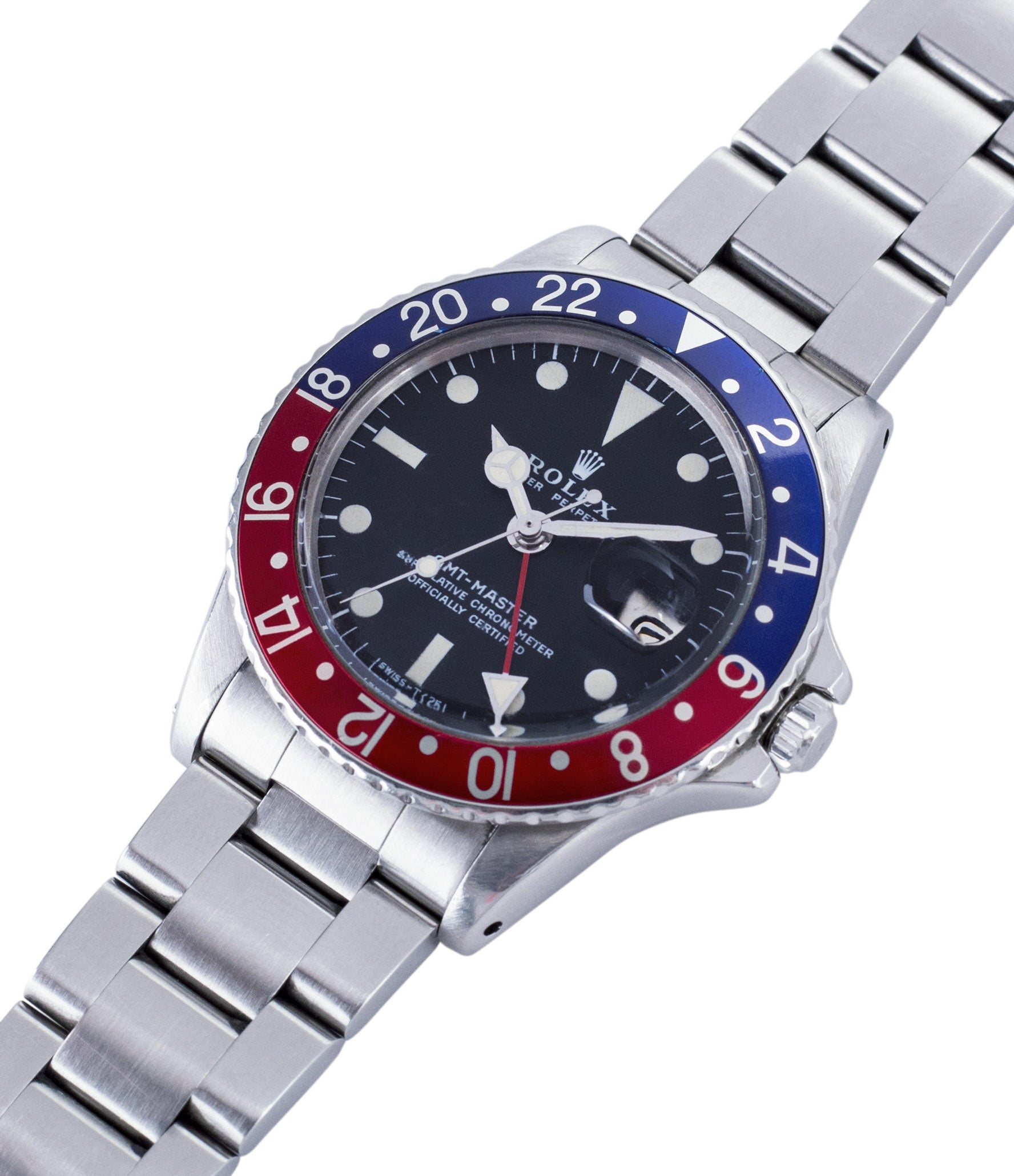 Rolex GMT Master 1675 vintage steel traveller sport watch Pepsi bezel for sale online at A Collected Man London vintage watch specialist