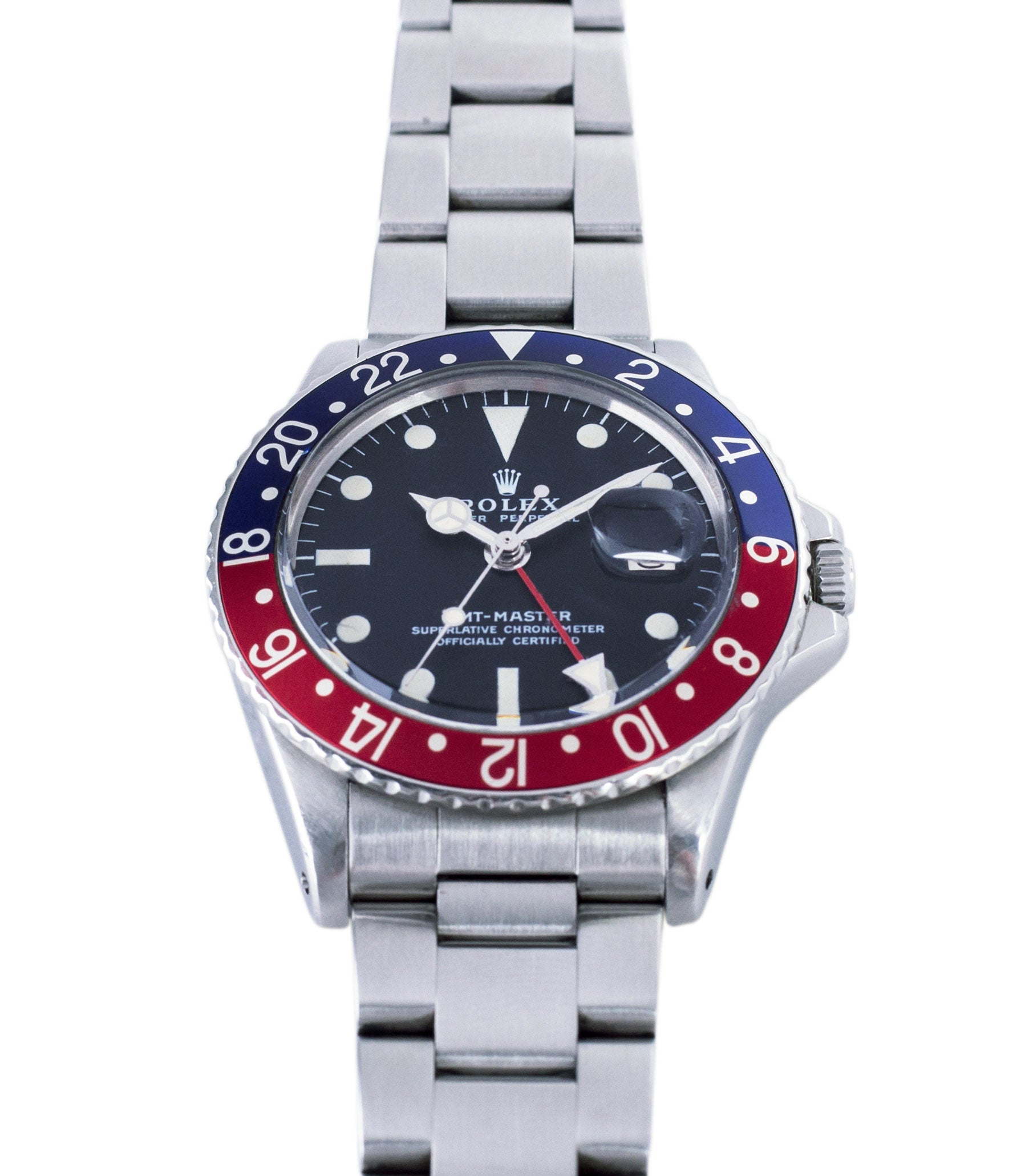 red blue Pepsi bezel vintage Rolex GMT Master 1675 vintage steel traveller sport watch Pepsi bezel for sale online at A Collected Man London vintage watch specialist