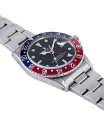 for sale Rolex GMT Master 1675 vintage steel traveller sport watch Pepsi bezel for sale online at A Collected Man London vintage watch specialist