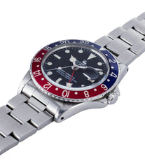 selling Rolex GMT Master 1675 vintage steel traveller sport watch Pepsi bezel for sale online at A Collected Man London vintage watch specialist