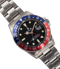 Rolex 16750 GMT-Master Pepsi bezel steel sport traveller watch for sale online at A Collected Man London vintage watch specialist