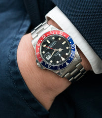 red blue bezel Rolex 16750 GMT-Master Pepsi bezel steel sport traveller watch for sale online at A Collected Man London vintage watch specialist