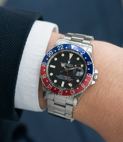 on the wrist vintage Rolex GMT 16750 steel watch for sale online at A Collected Man London vintage watch specialist