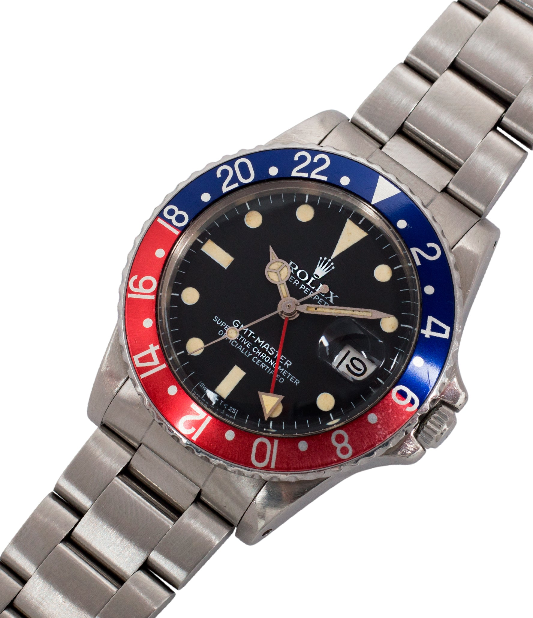 steel Rolex 16750 GMT-Master Pepsi bezel steel sport traveller watch for sale online at A Collected Man London vintage watch specialist
