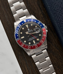 Pepsi bezel Rolex 16750 GMT-Master Pepsi bezel steel sport traveller watch for sale online at A Collected Man London vintage watch specialist