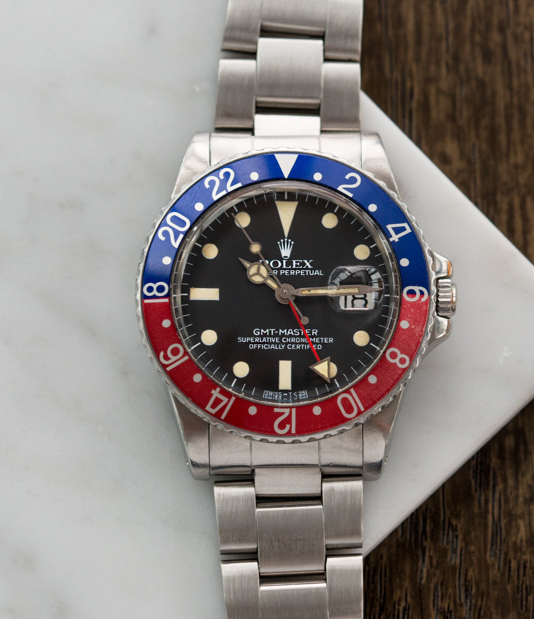 for sale Rolex 16750 GMT-Master Pepsi bezel steel sport traveller watch for sale online at A Collected Man London vintage watch specialist