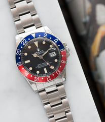 buy Rolex GMT-Master 16750 steel sport traveller watch for sale online at A Collected Man London vintage watch specialist