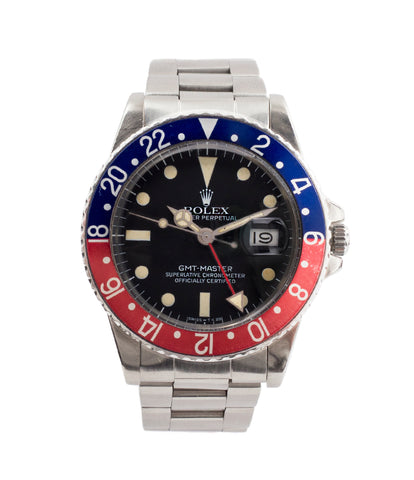 buy vintage Rolex GMT Pepsi bezel 16750 steel watch for sale online at A Collected Man London vintage watch specialist