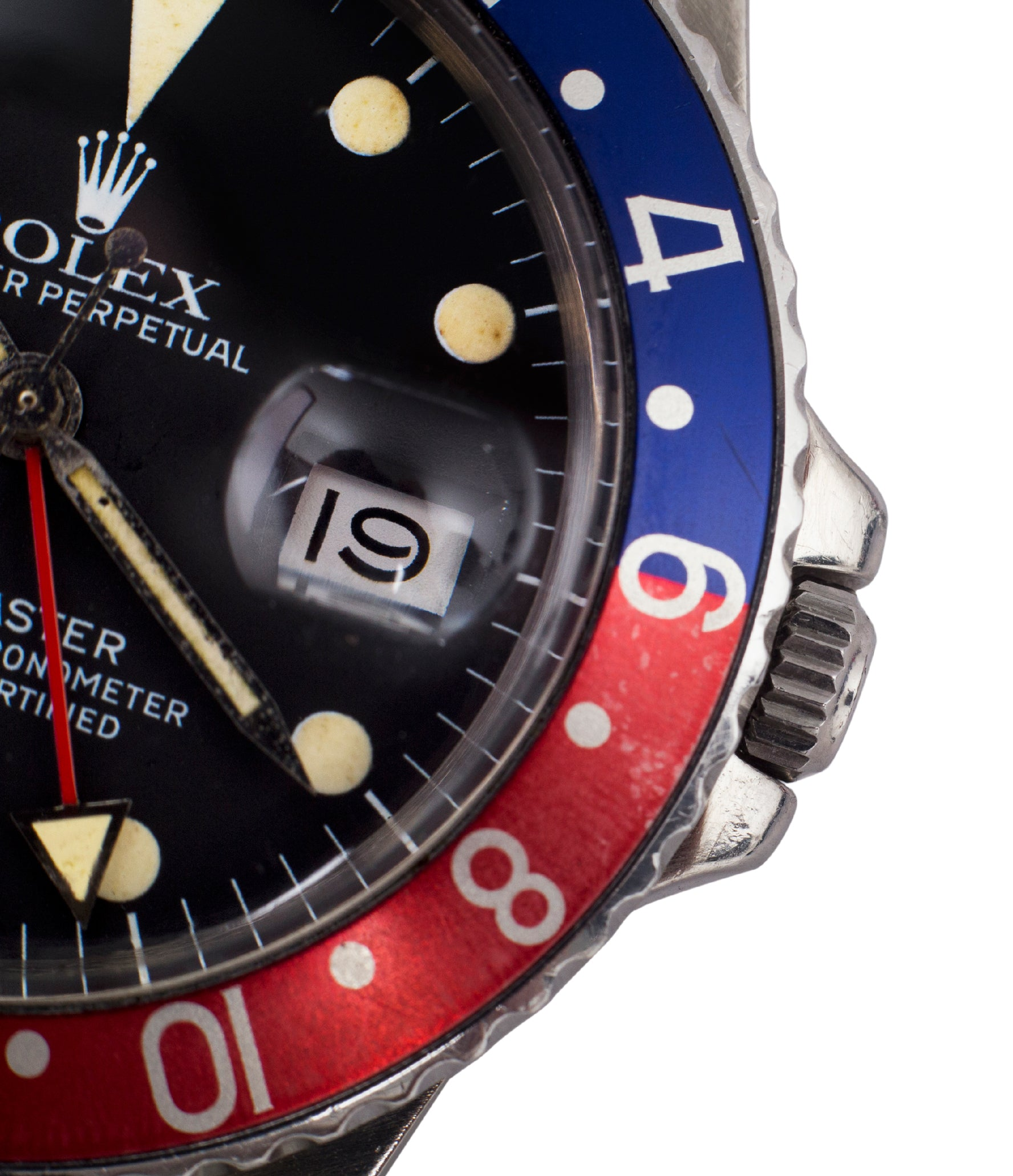 selling Rolex 16750 GMT-Master Pepsi bezel steel sport traveller watch for sale online at A Collected Man London vintage watch specialist