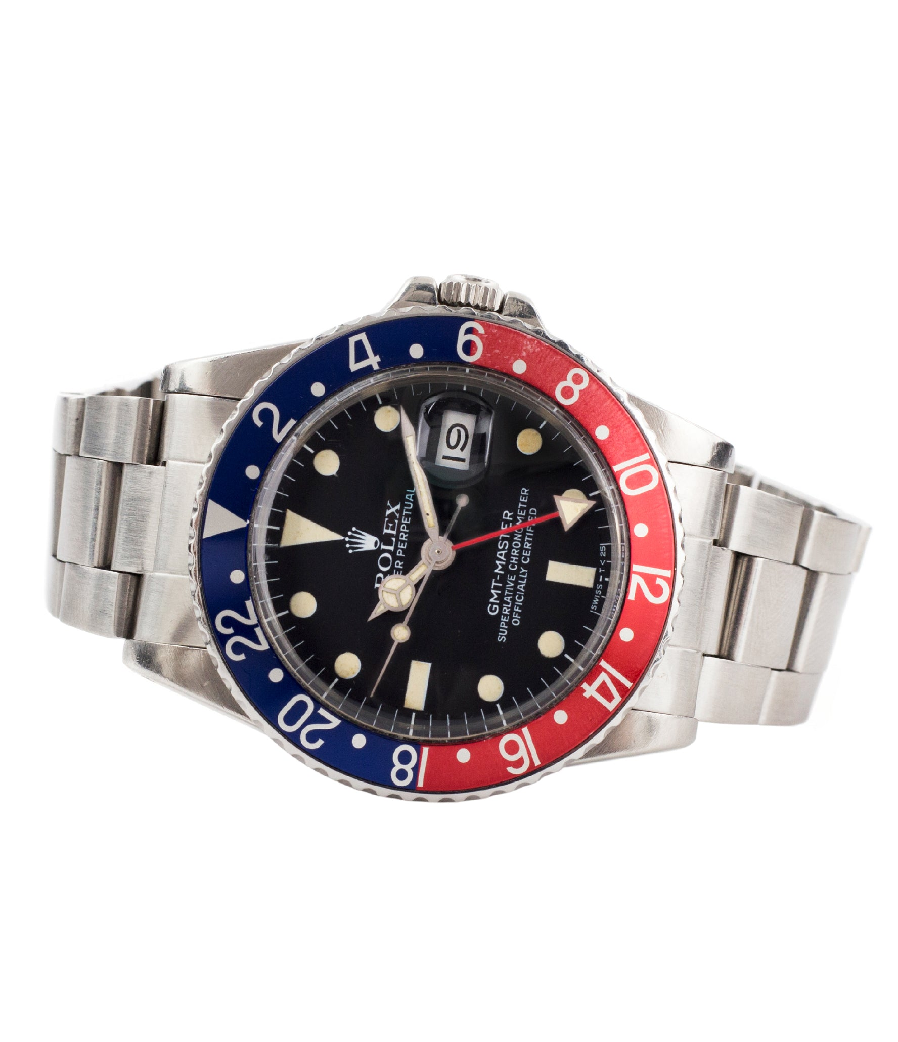 buy Rolex 16750 GMT-Master Pepsi bezel steel sport traveller watch for sale online at A Collected Man London vintage watch specialist