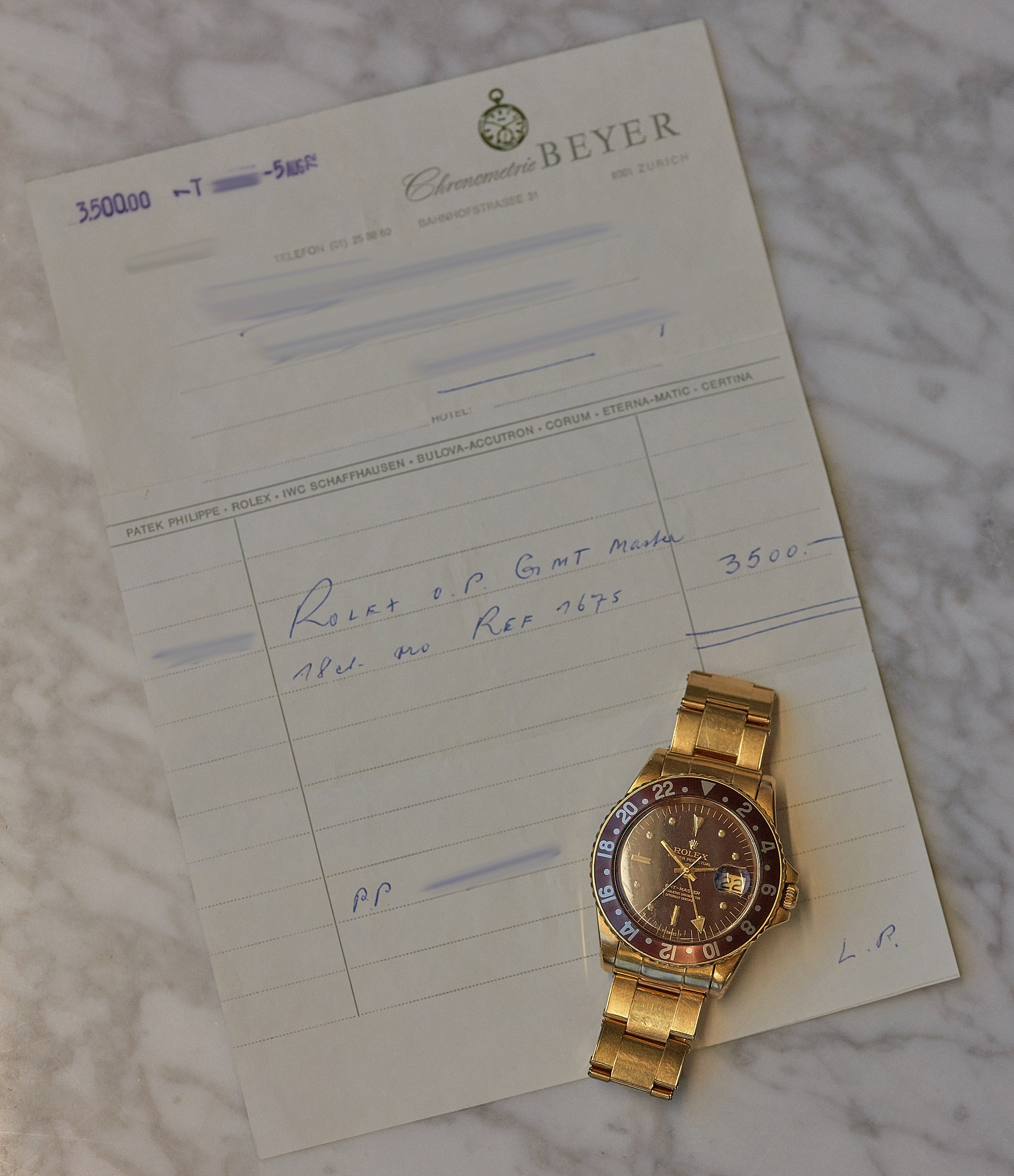 original purchase receipt 1675/8 Rolex GMT-Master Concorde yellow gold watch full set for sale online at A Collected Man London UK specialist of rare watches