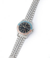 selling vintage 1675 Rolex GMT-Master Pepsi bezel gilt dial rare traveller sport watch for sale online at A Collected Man London UK specialist of vintage watches