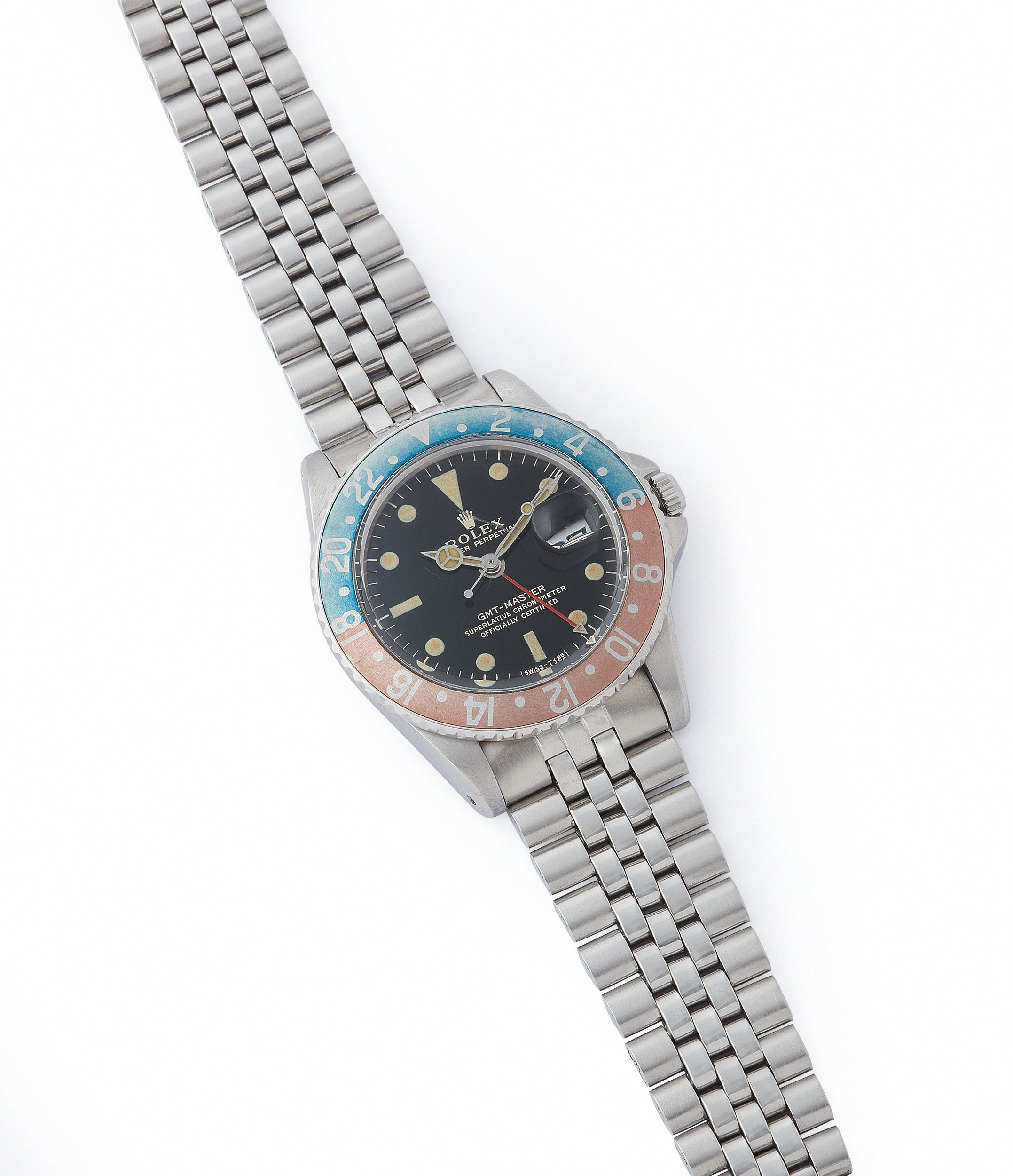 sell vintage Rolex 1675 GMT-Master Pepsi bezel gilt dial rare traveller sport watch for sale online at A Collected Man London UK specialist of vintage watches