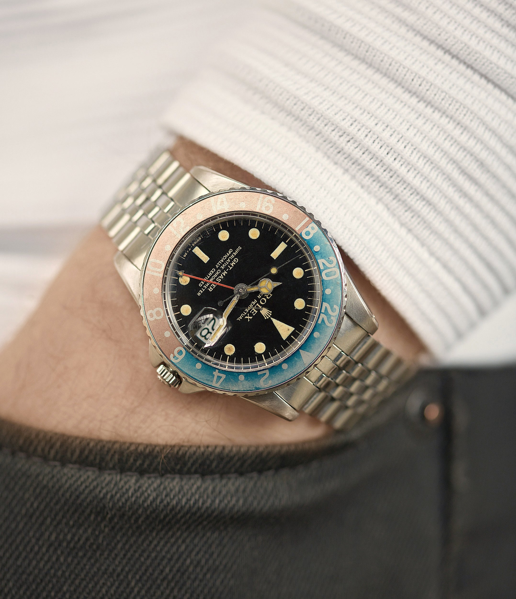 rare Rolex GMT-Master Pepsi bezel gilt dial vintage watch for sale online at A Collected Man London UK specialist of vintage watches
