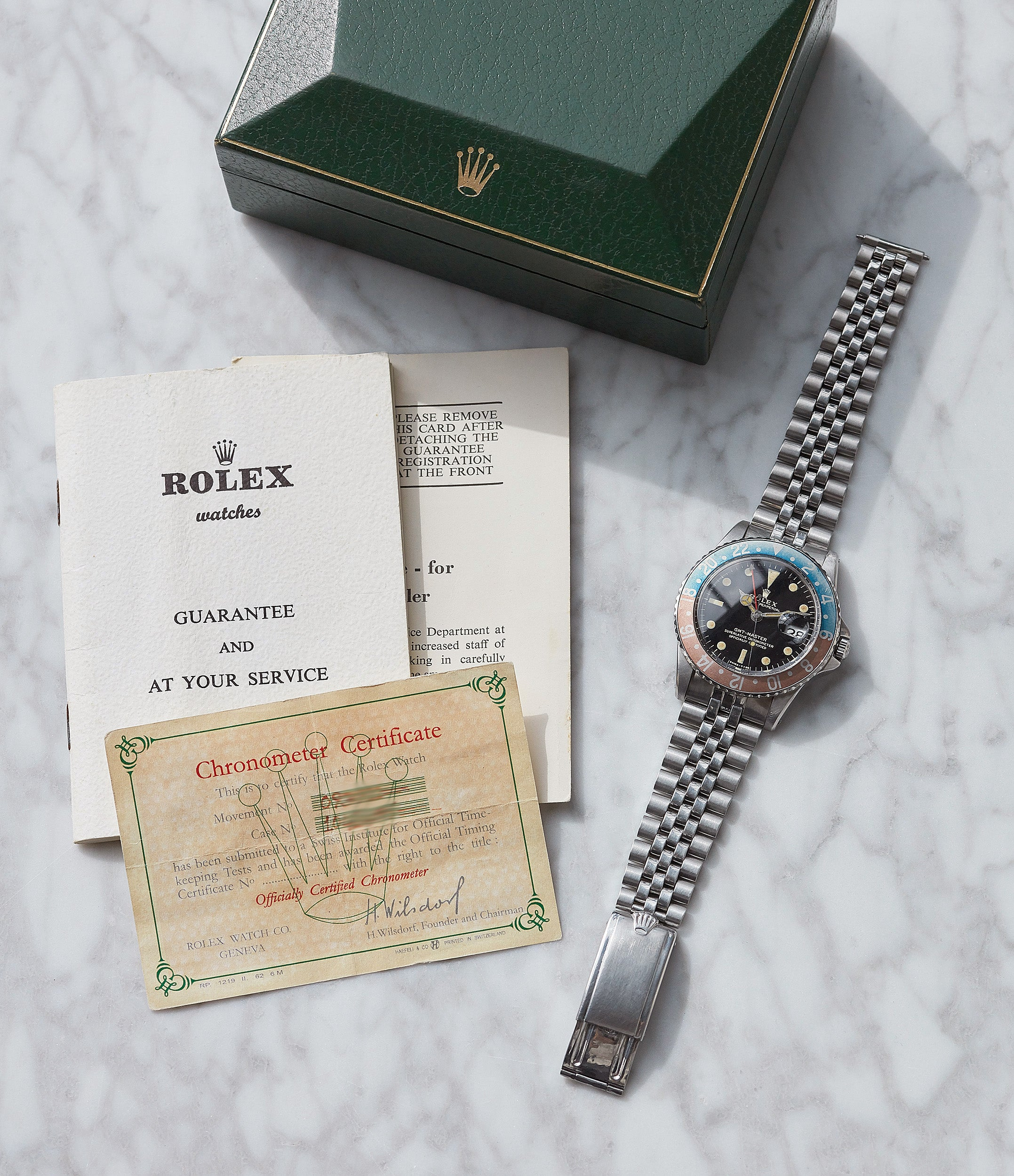 full set 1675 vintage Rolex GMT-Master Pepsi bezel gilt dial rare traveller sport watch for sale online at A Collected Man London UK specialist of vintage watches