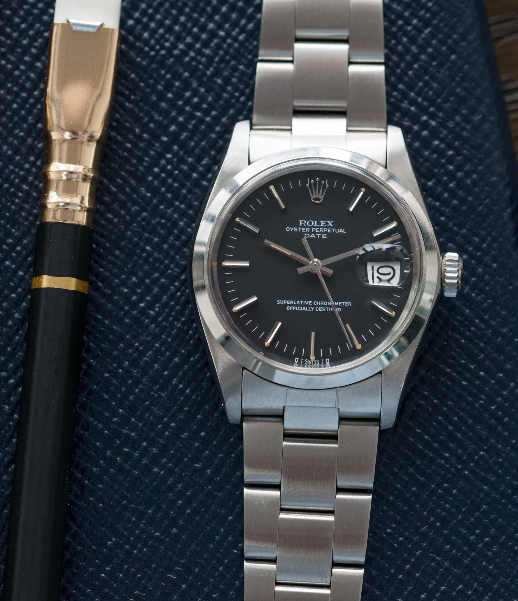 Rolex 1500 steel black sigma dial date sports vintage watch for sale online at A Collected Man vintage watch specialist