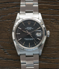 for sale vintage Rolex 1500 steel black sigma dial date sports watch for sale online at A Collected Man vintage watch specialist