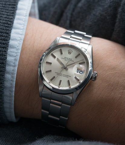 on the wrist vintage Rolex Oyster Date 1500 steel vintage watch full set for sale online at A Collected Man rare vintage watch specialist