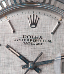 silver linen dial Rolex Datejust 1601 Oyster Perpetual vintage automatic steel sport dress watch for sale online at A Collected Man London UK specialist rare vintage watches