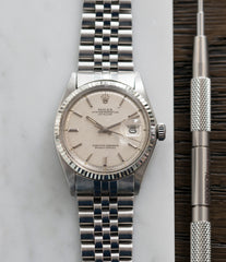 buying Rolex Datejust 1601 linen dial Oyster Perpetual vintage automatic steel sport dress watch for sale online at A Collected Man London UK specialist rare vintage watches
