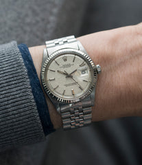 wristwatch Rolex Datejust 1601 linen dial Oyster Perpetual vintage automatic steel sport dress watch for sale online at A Collected Man London UK specialist rare vintage watches