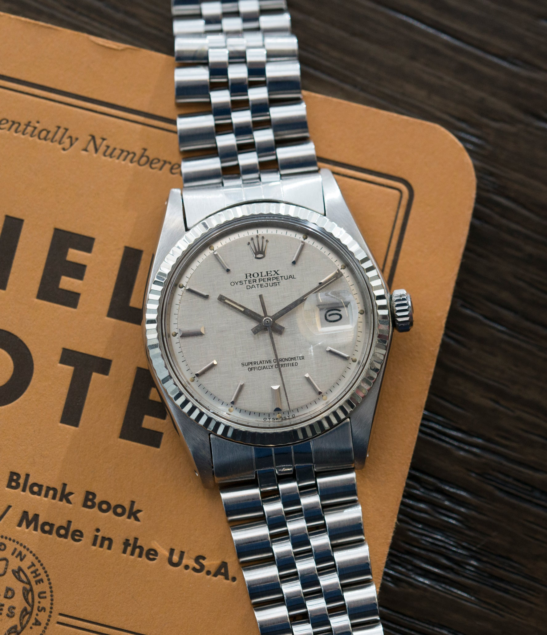 shop Rolex Datejust 1601 linen dial Oyster Perpetual vintage automatic steel sport dress watch for sale online at A Collected Man London UK specialist rare vintage watches