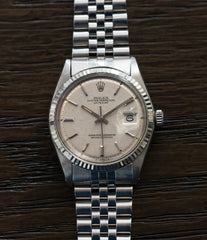 selling Rolex Datejust 1601 linen dial Oyster Perpetual vintage automatic steel sport dress watch for sale online at A Collected Man London UK specialist rare vintage watches