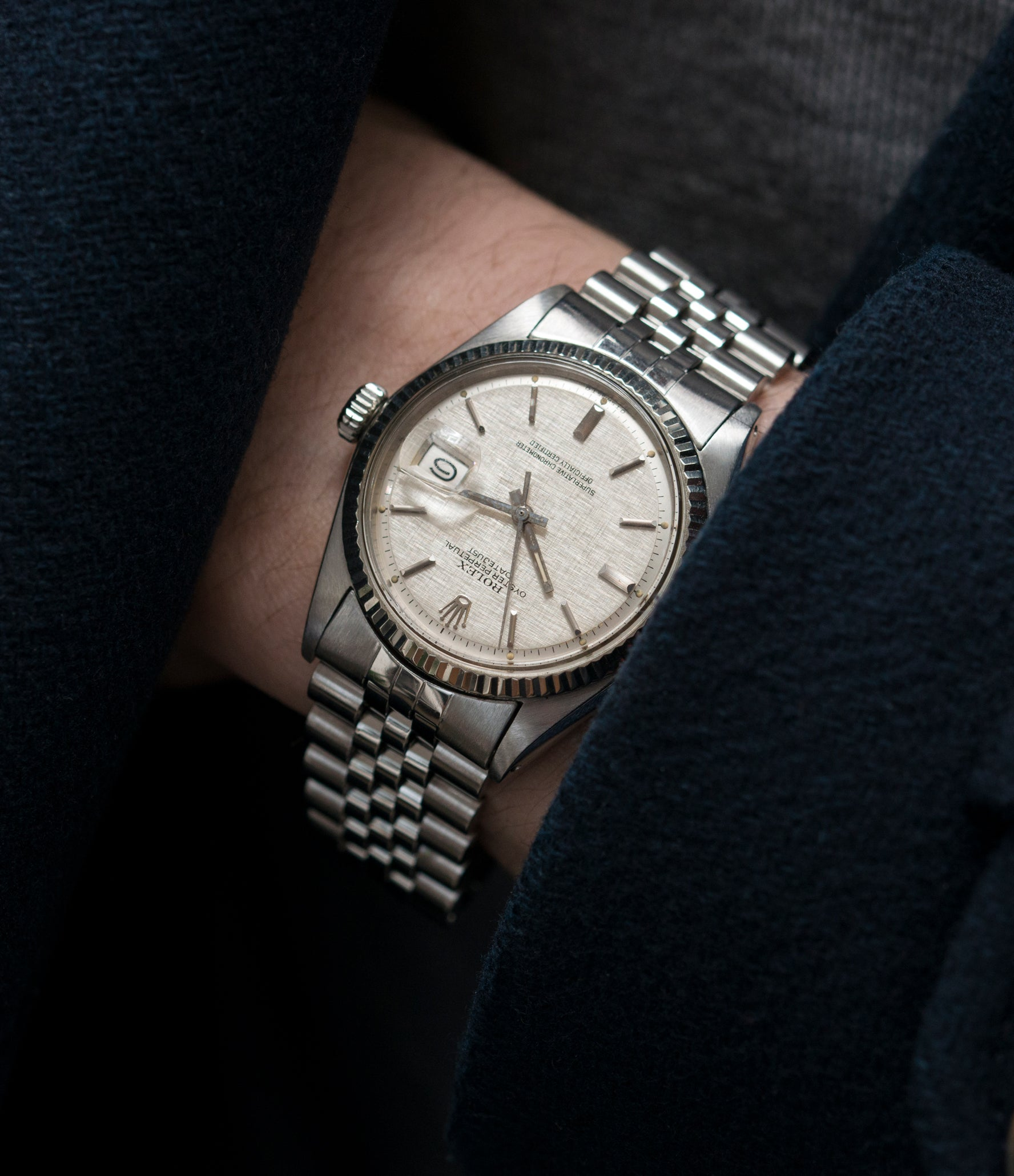 steel Rolex Datejust 1601 linen dial Oyster Perpetual vintage automatic steel sport dress watch for sale online at A Collected Man London UK specialist rare vintage watches