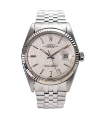 buy Rolex Datejust 1601 linen dial Oyster Perpetual vintage automatic steel sport dress watch for sale online at A Collected Man London UK specialist rare vintage watches