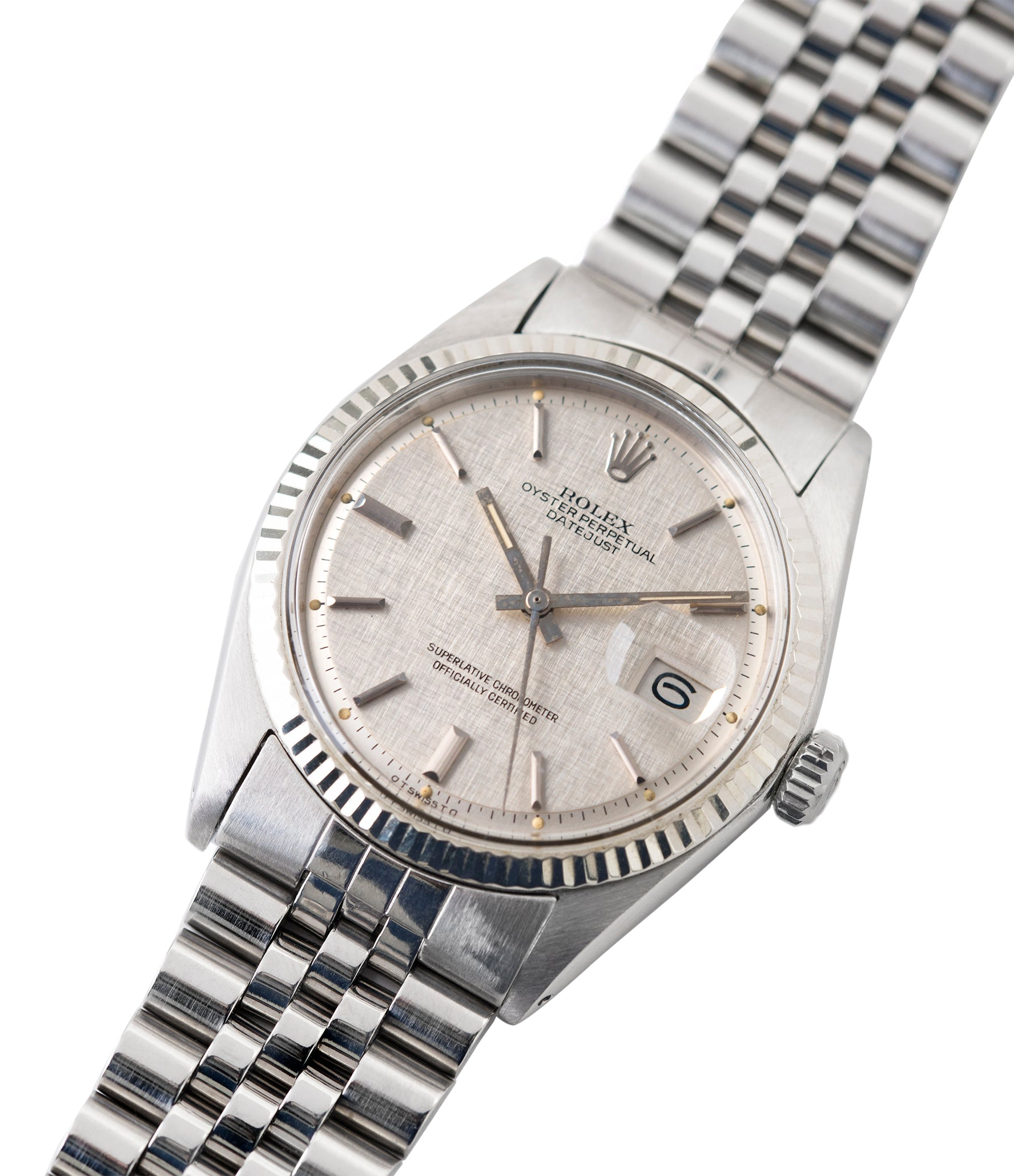 vintage Rolex Datejust 1601 linen dial Oyster Perpetual automatic steel sport dress watch for sale online at A Collected Man London UK specialist rare vintage watches