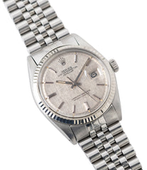 for sale Rolex Datejust 1601 linen dial Oyster Perpetual vintage automatic steel sport dress watch for sale online at A Collected Man London UK specialist rare vintage watches