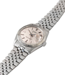 1601 vintage Datejust Rolex linen dial Oyster Perpetual vintage automatic steel sport dress watch for sale online at A Collected Man London UK specialist rare vintage watches