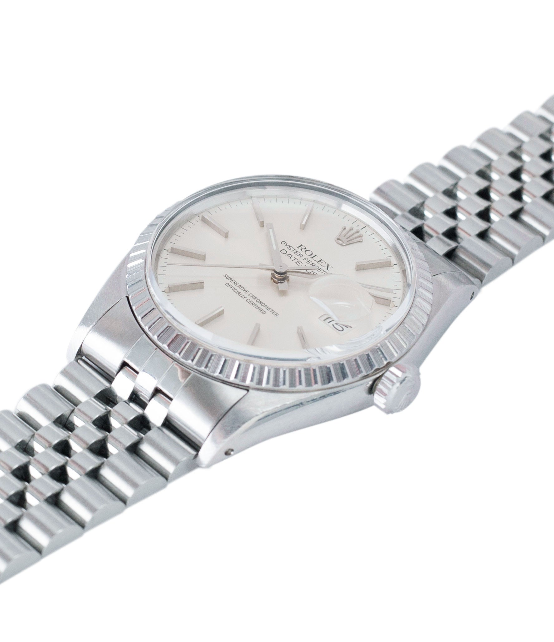shop vintage full set Rolex Oyster Perpetual Datejust 16030 steel automatic silver dial watch Jubilee bracelet for sale online at A Collected Man London UK vintage watch specialist