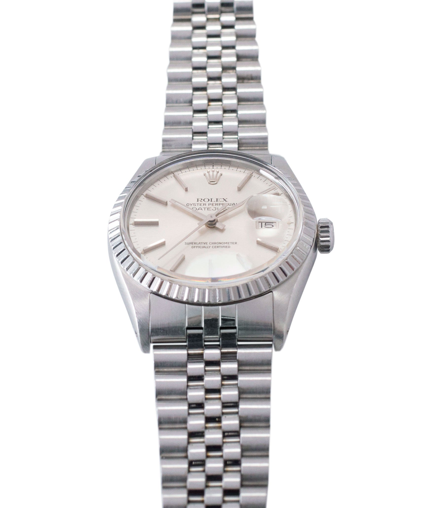 buy vintage full set Rolex Datejust 16030 steel automatic silver dial watch Jubilee bracelet for sale online at A Collected Man London UK vintage watch specialist