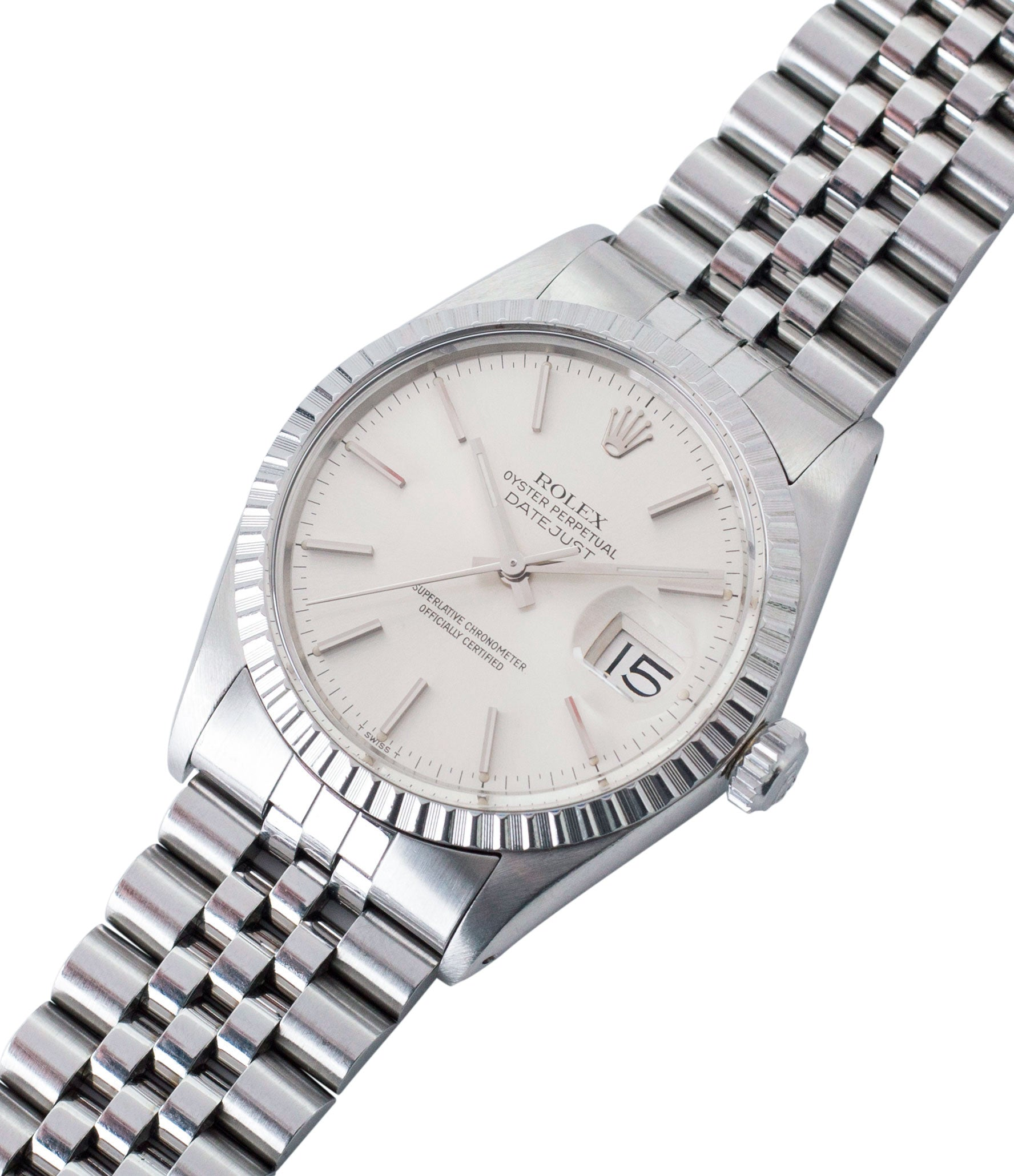 buying vintage full set Rolex Oyster Perpetual Datejust 16030 steel automatic silver dial watch Jubilee bracelet for sale online at A Collected Man London UK vintage watch specialist