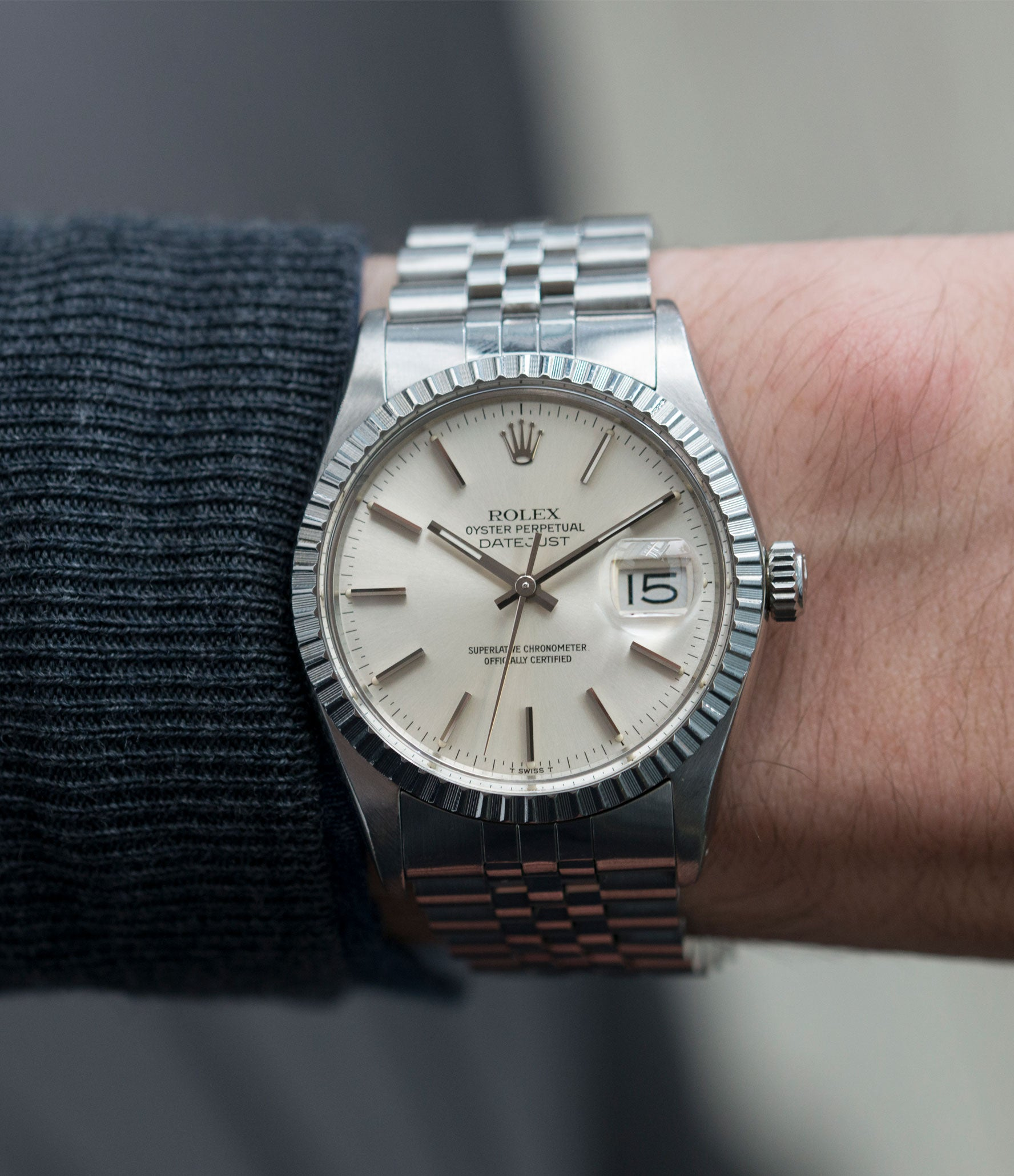 men's luxury wristwatch vintage full set Rolex Datejust 16030 steel automatic silver dial watch Jubilee bracelet for sale online at A Collected Man London UK vintage watch specialist