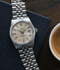 classic men's vintage dress watch Rolex Datejust 16030 steel automatic silver dial watch Jubilee bracelet for sale online at A Collected Man London UK vintage watch specialist