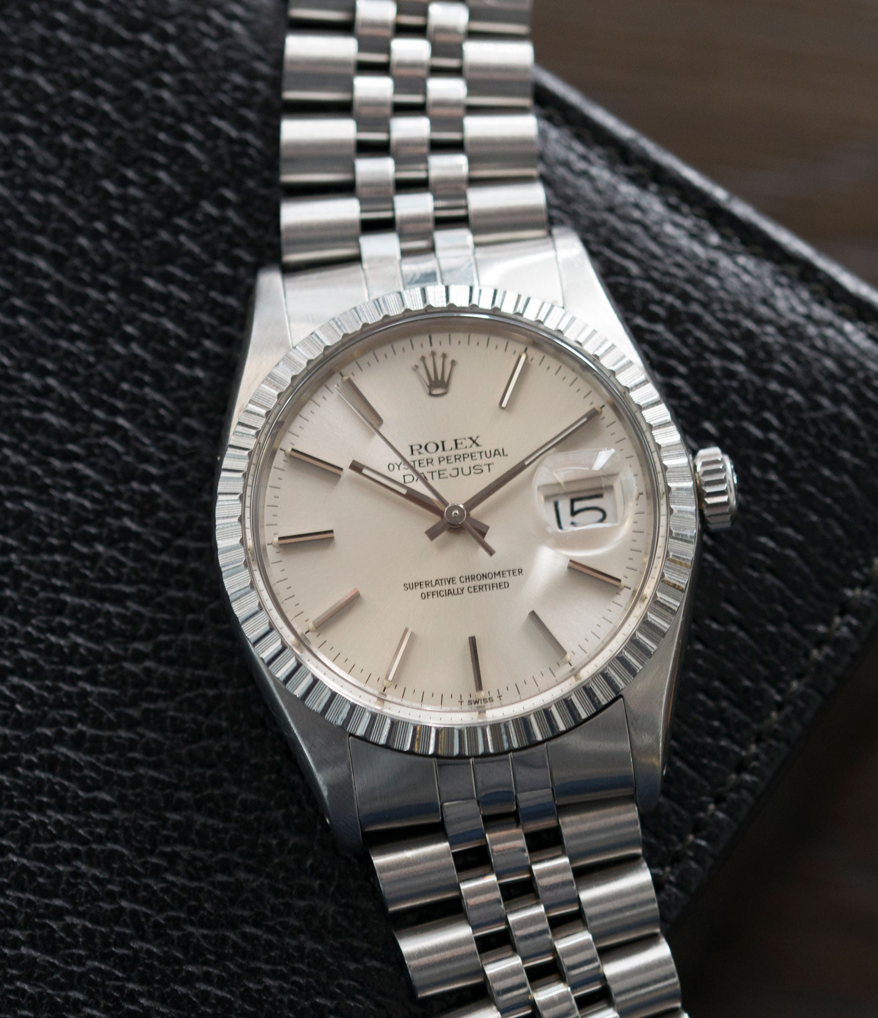 vintage full set Rolex Oyster Perpetual Datejust 16030 steel automatic silver dial watch Jubilee bracelet for sale online at A Collected Man London UK vintage watch specialist