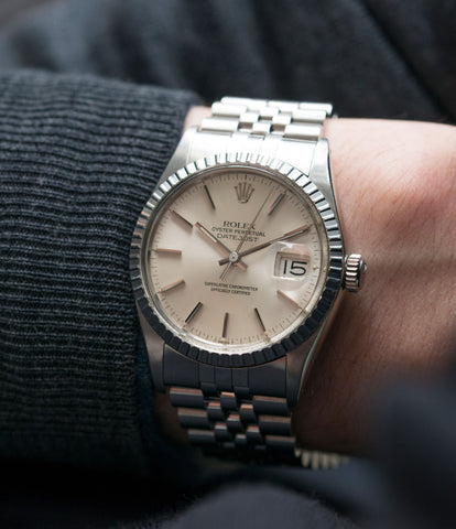 on the wrist Rolex Oyster Perpetual Datejust 16030 steel automatic silver dial watch Jubilee bracelet for sale online at A Collected Man London UK vintage watch specialist