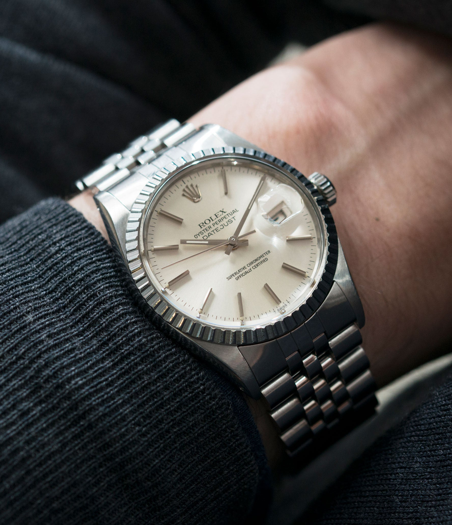classic dress sports watch Rolex Datejust 16030 steel automatic silver dial watch Jubilee bracelet for sale online at A Collected Man London UK vintage watch specialist