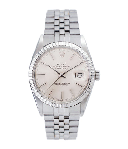 buy vintage full set Rolex Oyster Perpetual Datejust 16030 steel automatic silver dial watch Jubilee bracelet for sale online at A Collected Man London UK vintage watch specialist