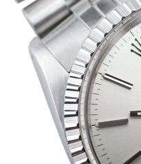 steel Rolex Datejust 16030 automatic silver dial watch Jubilee bracelet for sale online at A Collected Man London UK vintage watch specialist