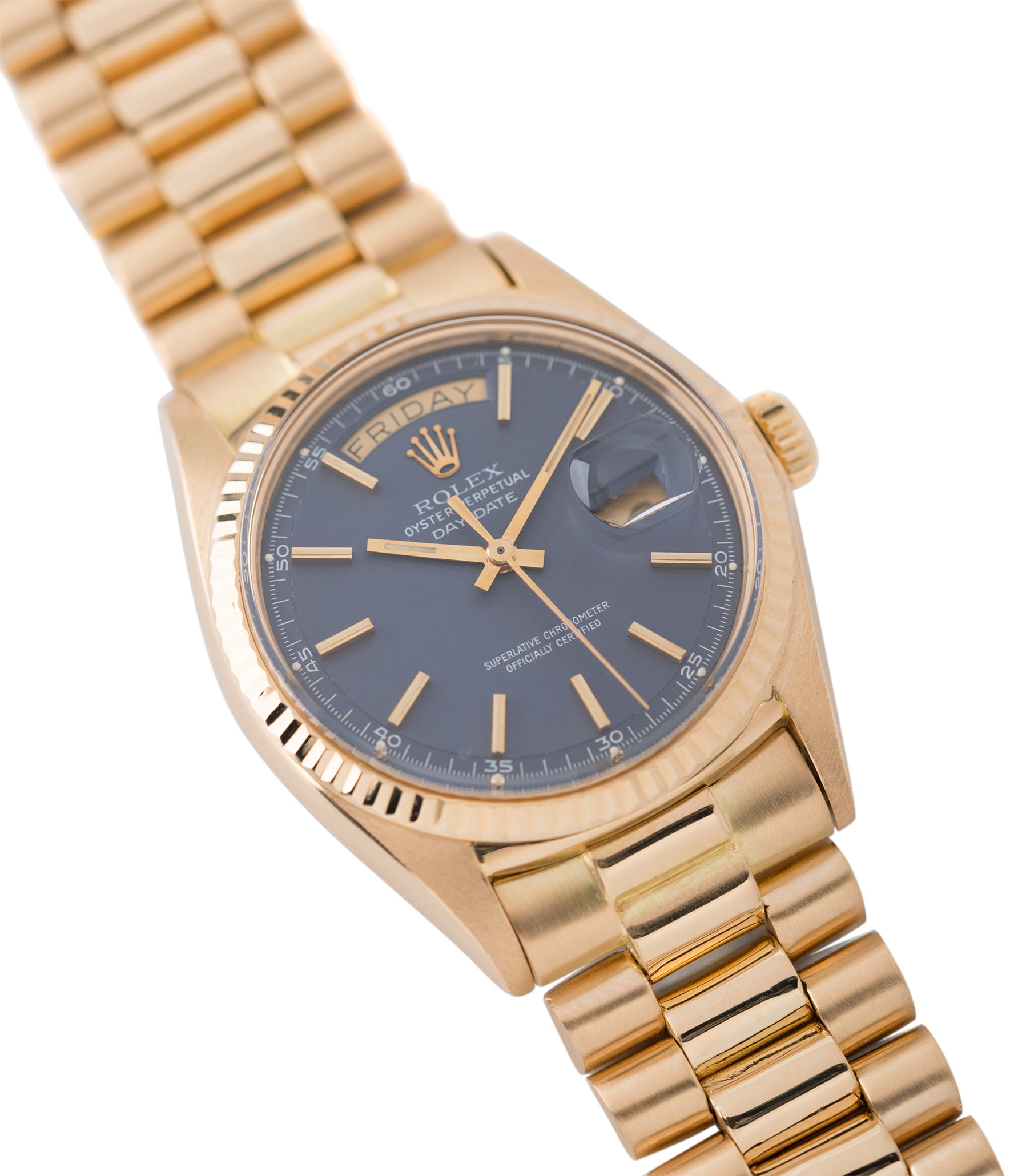 buy blue dial Day-Date vintage Rolex 1803 Oyster Perpetual Cal. 1556 gold watch for sale online at A Collected Man London UK specialist of rare watches