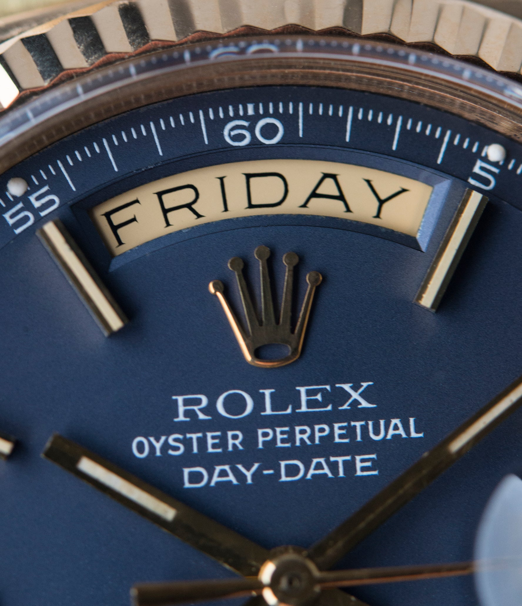 blue dial vintage Rolex Day-Date 1803 Oyster Perpetual Cal. 1556 gold watch for sale online at A Collected Man London UK specialist of rare watches