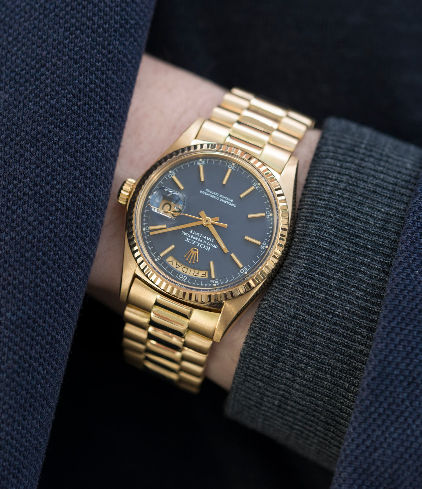 vintage ref. 1803 Rolex Day-Date Oyster Perpetual Cal. 1556 blue dial watch for sale online at A Collected Man London UK specialist of rare watches