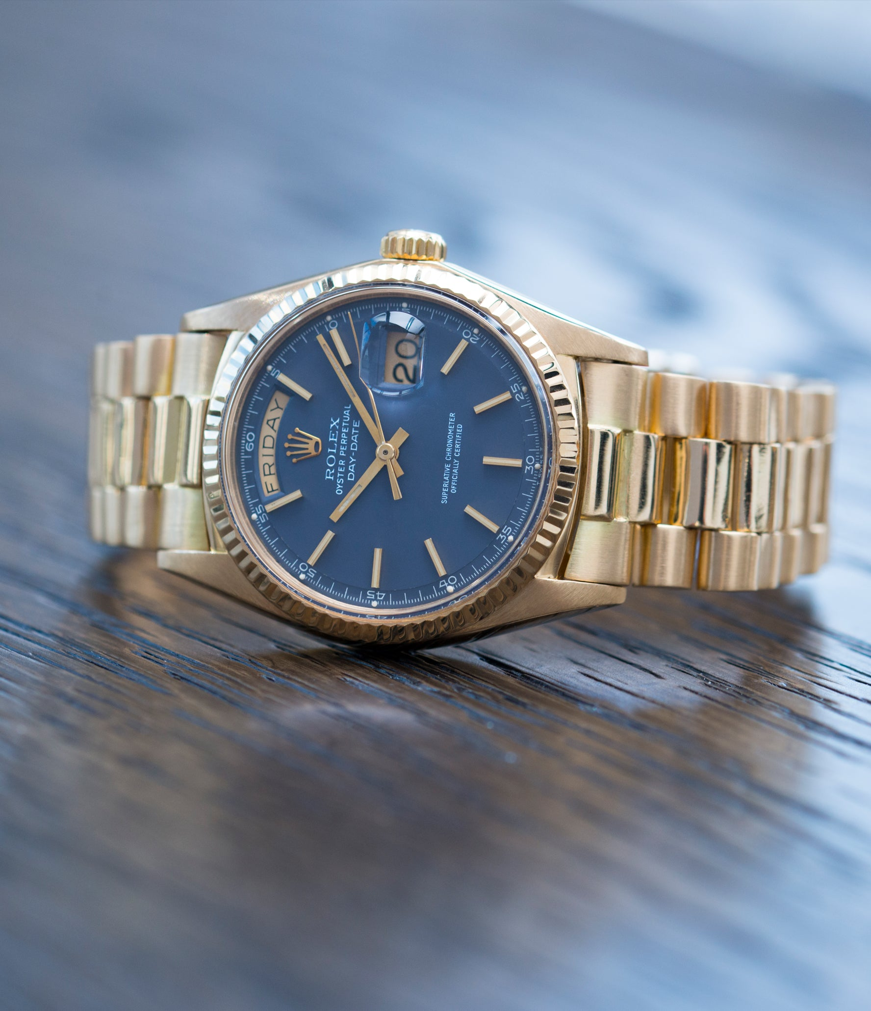 for sale vintage Rolex Day-Date 1803 Oyster Perpetual Cal. 1556 gold watch blue dial for sale online at A Collected Man London UK specialist of rare watches
