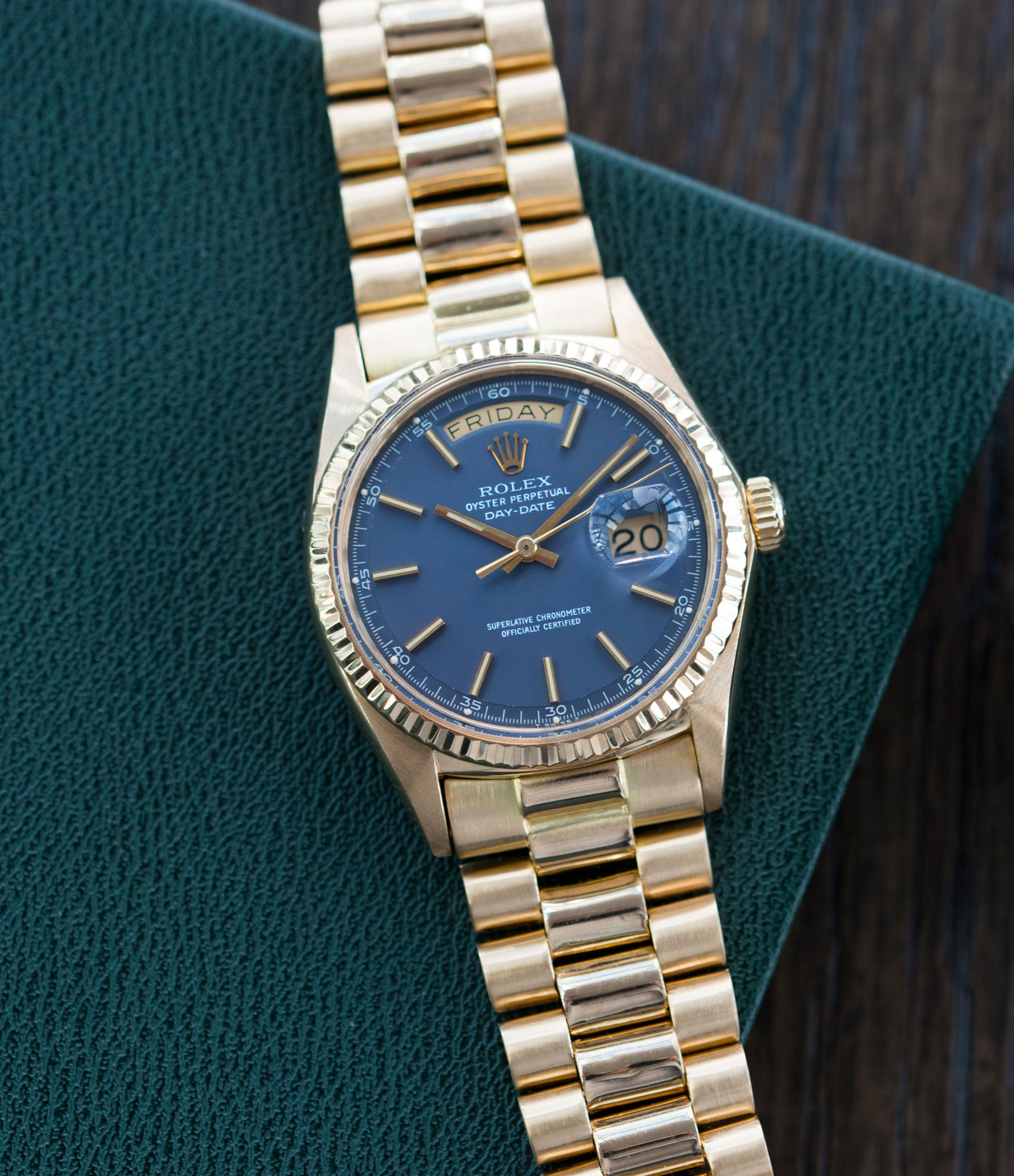 buy Rolex Day-Date 1803 Oyster Perpetual Cal. 1556 gold watch blue dial for sale online at A Collected Man London UK specialist of rare watches