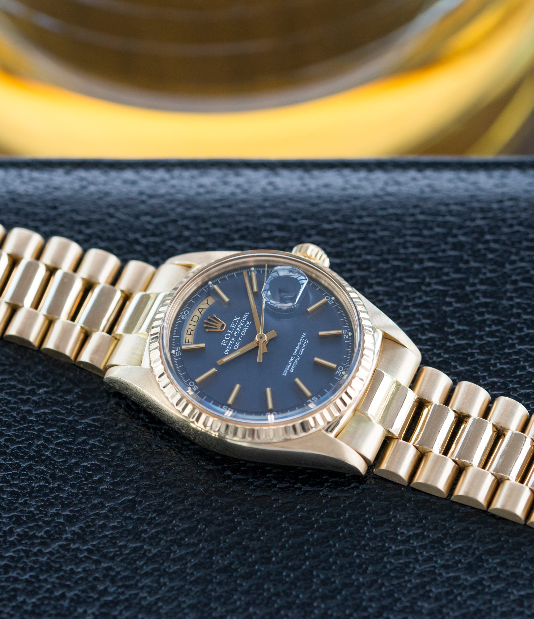 selling vintage Rolex Day-Date 1803 Oyster Perpetual Cal. 1556 gold watch blue dial for sale online at A Collected Man London UK specialist of rare watches
